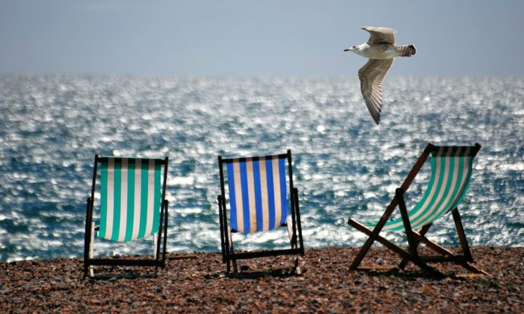 Beach photo with deckchairs
